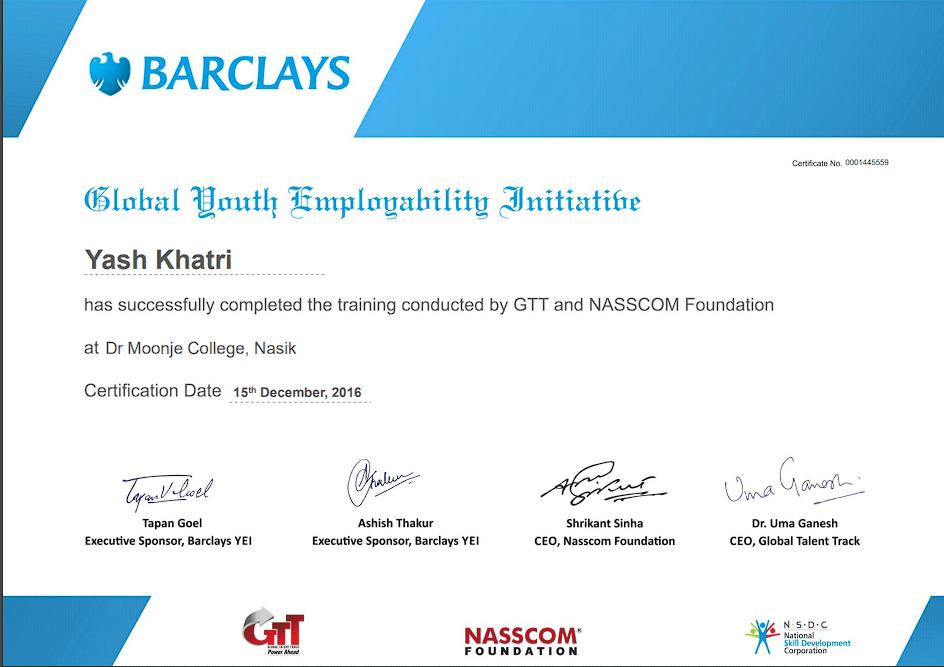 Yash A Khatri Barclays