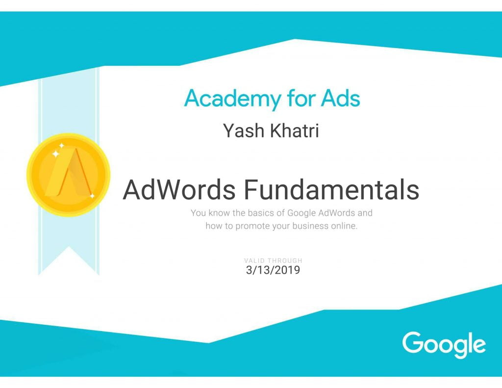Yash A Khatri Google Adwords fundamentals