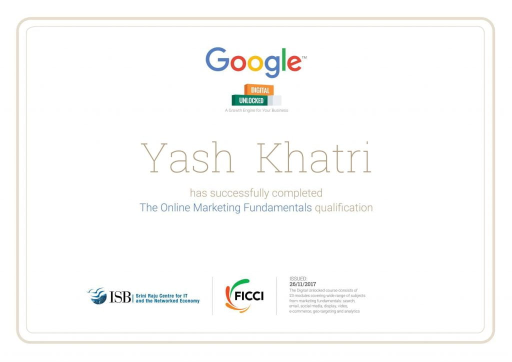Yash A Khatri Google Digital Unlocked
