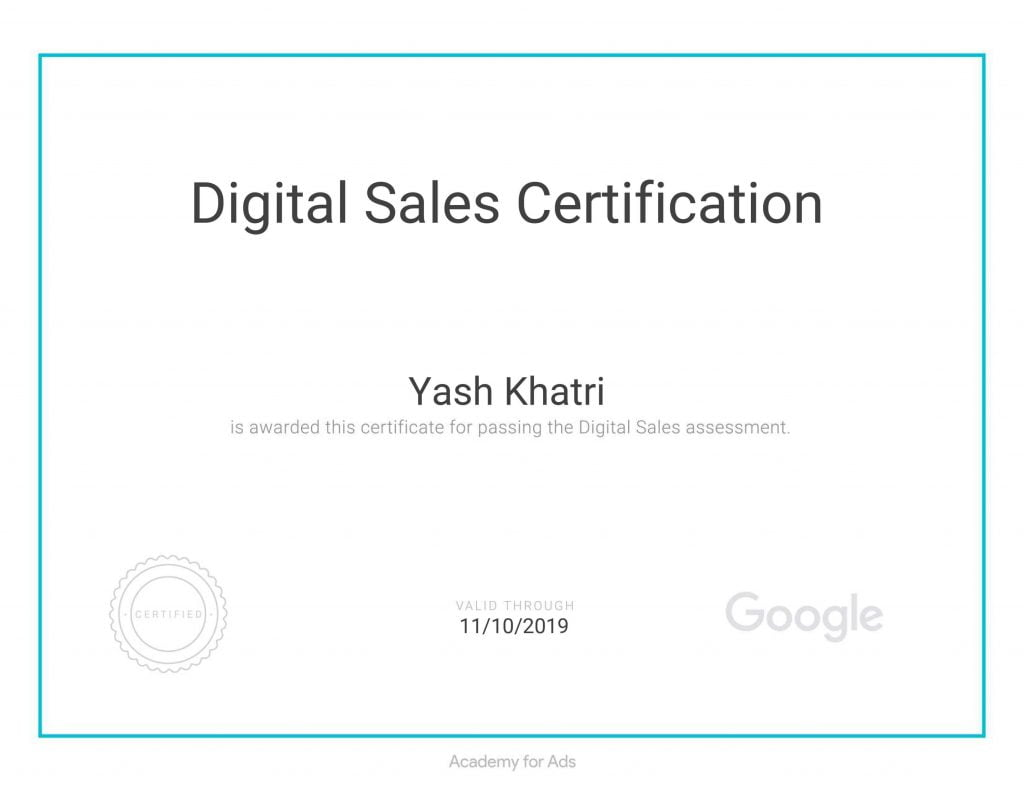 Yash A Khatri Google Digital Sales