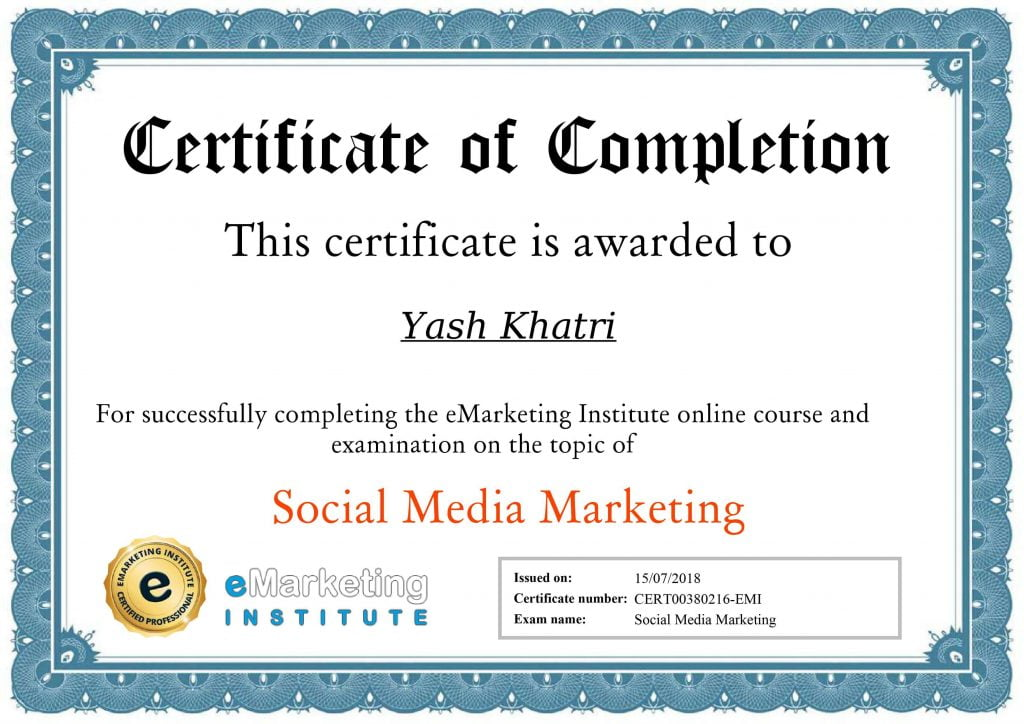 Yash A Khatri Social Media Marketing Certificate
