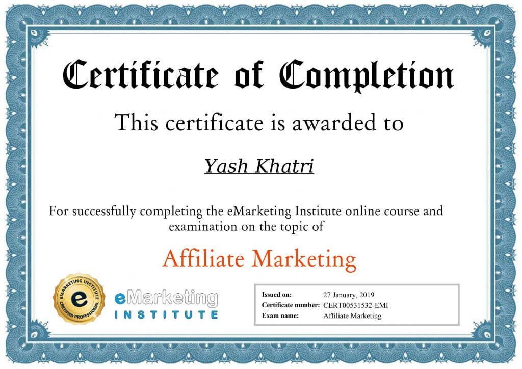 Yash A Khatri Affiliate Marketing Certificate