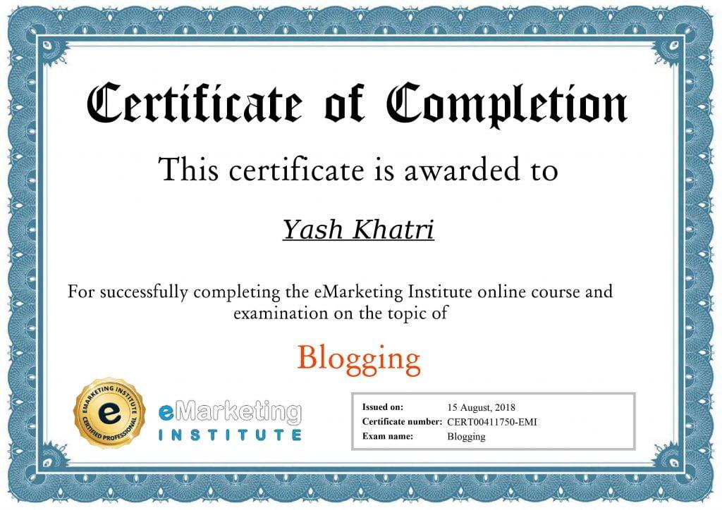 Yash A Khatri Blogging Certificate