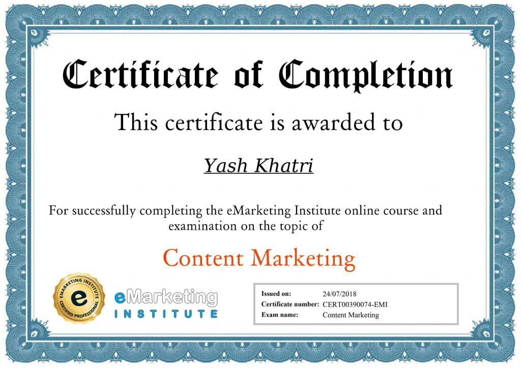 Yash A Khatri Content Marketing Certificate