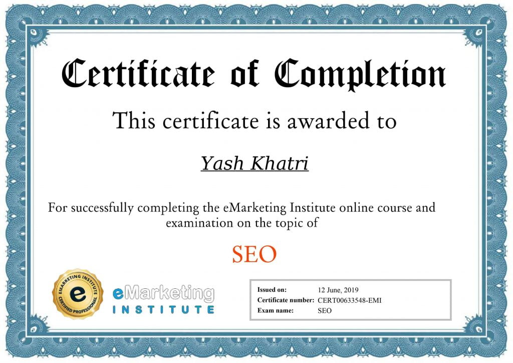 Yash A KhatriSarch Engine Optimization Certificate
