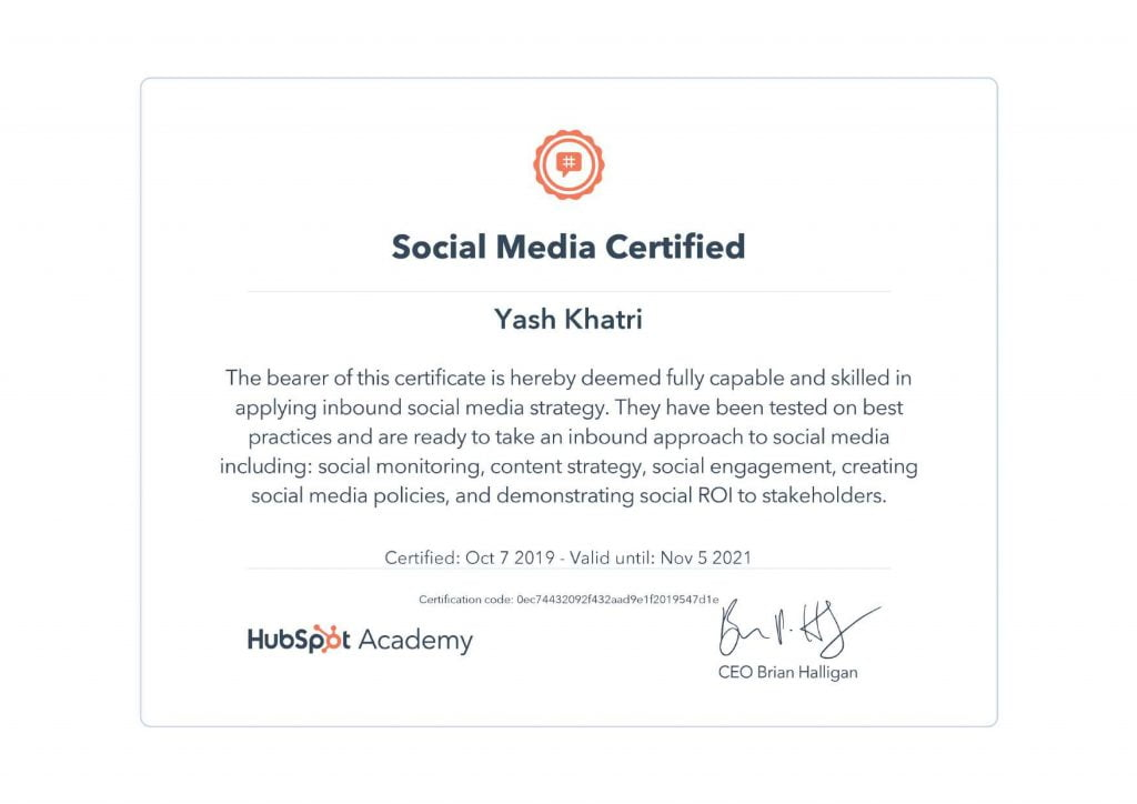 Yash A Khatri HubSpot Social Media Certification