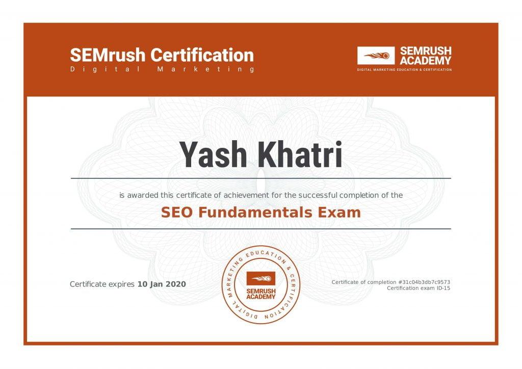 Yash A Khatri SEMRush SEO Fundamentals