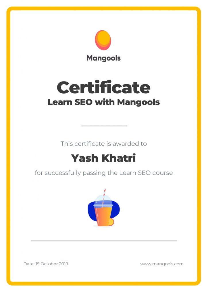 Yash A Khatri mangools seo certification