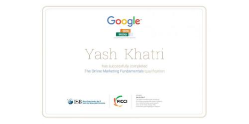 Yash A Khatri Certificates